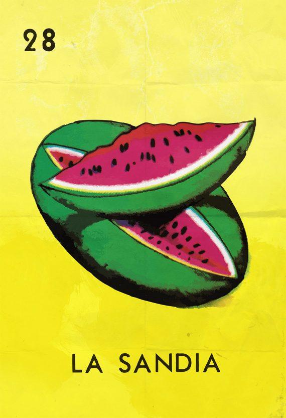 Loteria La Sandia Mexican Retro Illustration Art Print Vintage Giclee on Cotton Canvas and Paper Canvas Poster Wall Decor