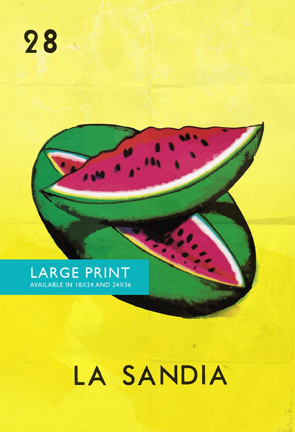 Loteria La Sandia Mexican Retro Illustration Art Print Vintage ...