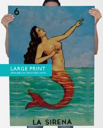 Loteria La Sirena Mexican Retro Illustration Art Print 18x24, 24x36 Vintage Giclee Poster Wall Decor on Cotton Canvas and Satin Photo Paper