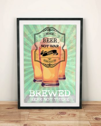 Make Beer Not War Original Illustration Vintage Style Ad Poster Giclee Print on Cotton Canvas Paper Canvas Kitchen Home Brewery Wall Decor