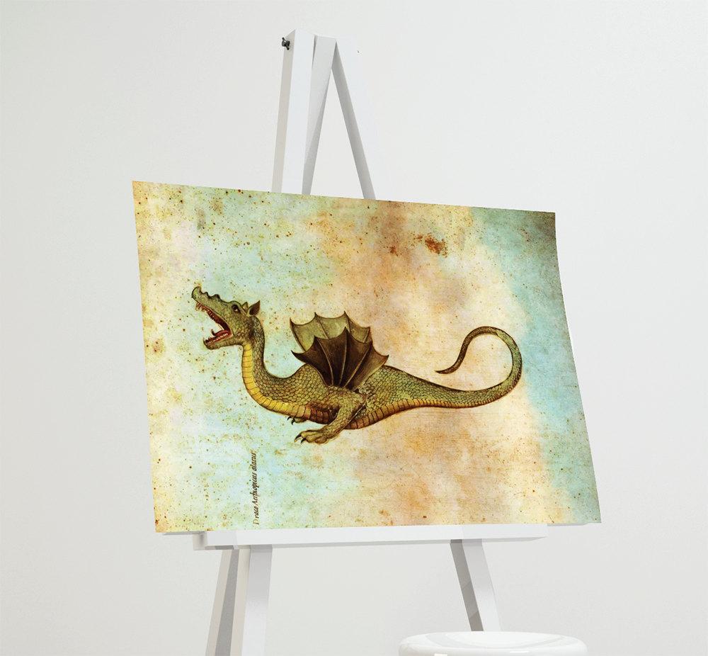 Medieval Dragon Print Vintage Wall Art – Giclee Print on Cotton ...