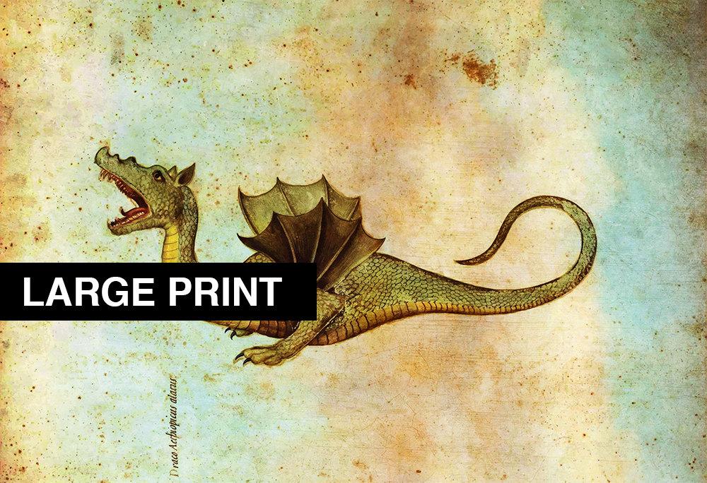 Medieval Dragon Print Vintage Wall Art – Large Giclee Print on ...