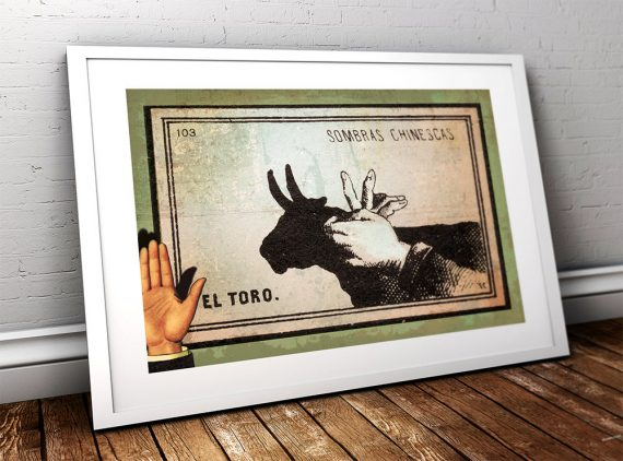 Mexican Shadow Puppet Show Print El Toro Decor Giclee Print on Cotton Canvas and Paper Canvas Poster Home Wall Art