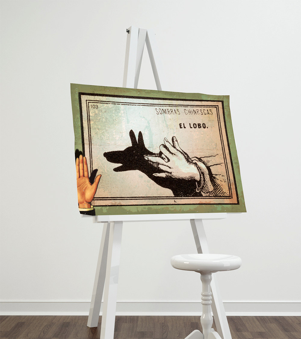 Mexican shadow show print el lobo decor giclee print on for Newspaper canvas art