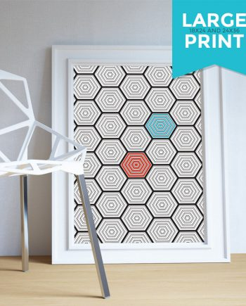 Mid Century Modern Geometric Hexagonal Pattern Vintage Retro Abstract Art Print Large Poster Giclee on Satin or Cotton Canvas Wall Decor