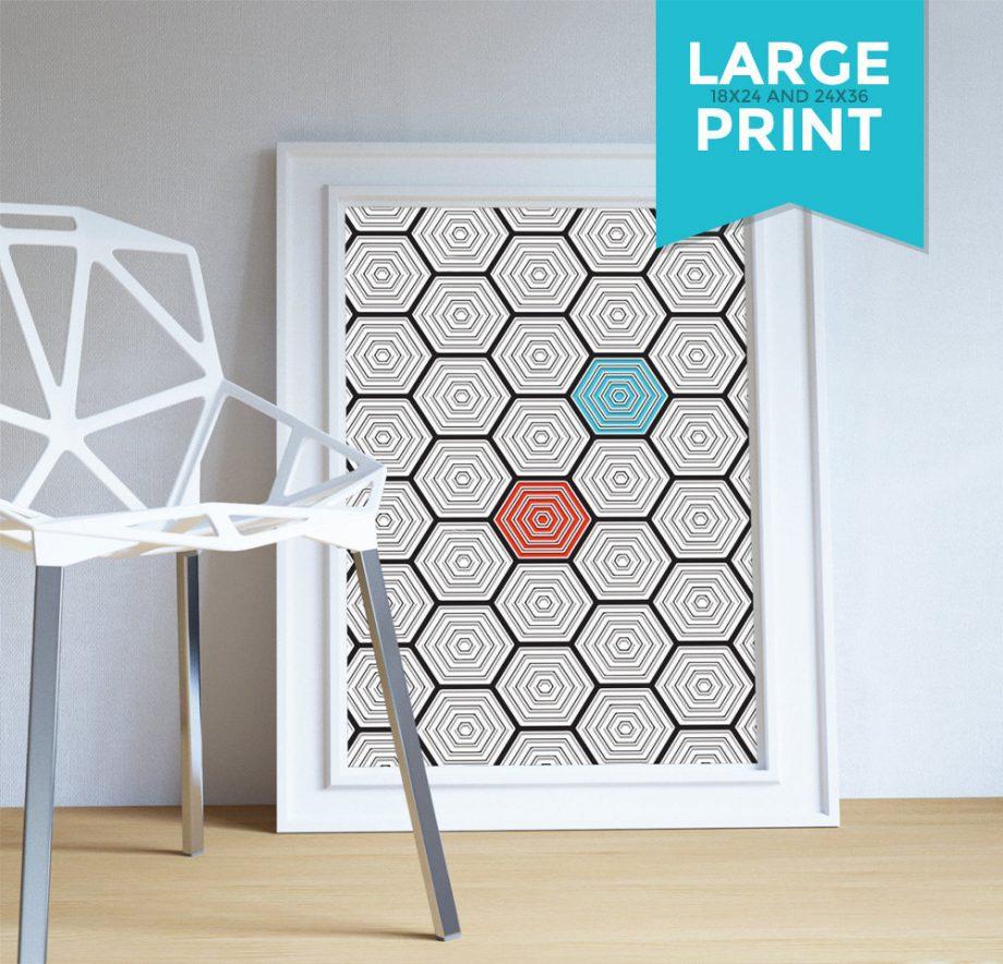 Mid Century Modern Geometric Hexagonal Pattern Vintage Retro Abstract Art Print Large Poster Giclee on Satin or Cotton Canvas Wall Decor