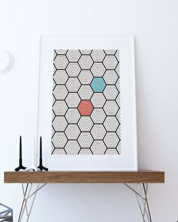 Mid Century Modern Geometric Hexagonal Pattern Vintage Retro Abstract Art Print Poster Giclee on Cotton Canvas and Paper Canvas Wall Decor