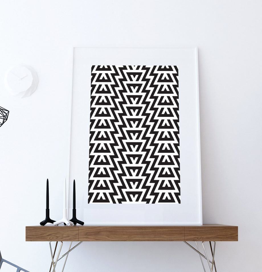 Mid Century Modern Geometric Pattern Vintage Retro Abstract Art Print Large Poster Giclee on Satin or Cotton Canvas Wall Decor