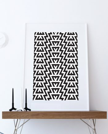 Mid Century Modern Geometric Pattern Vintage Retro Abstract Art Print Poster Giclee on Cotton Canvas and Paper Canvas Wall Decor