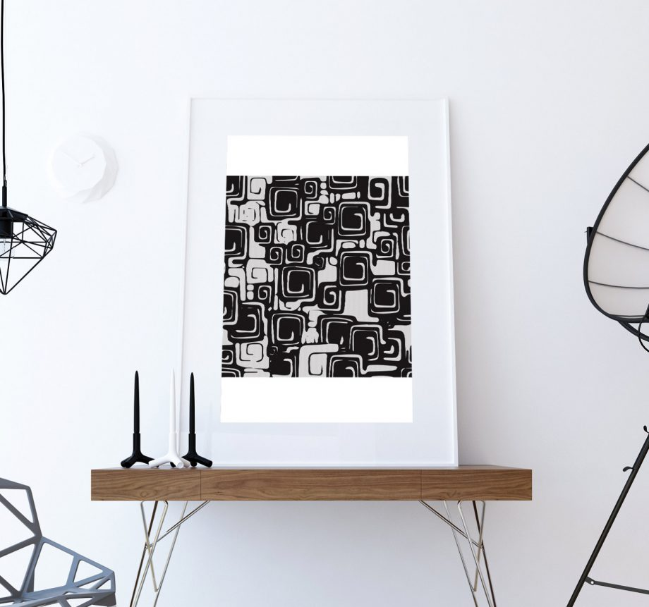 Mid Century Modern Pattern Vintage Retro Abstract Art Print Large Poster Giclee on Satin or Cotton Canvas Wall Decor