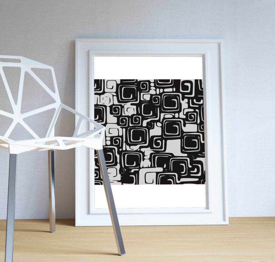 Mid Century Modern Pattern Vintage Retro Abstract Art Print Poster Giclee on Cotton Canvas and Paper Canvas Wall Decor