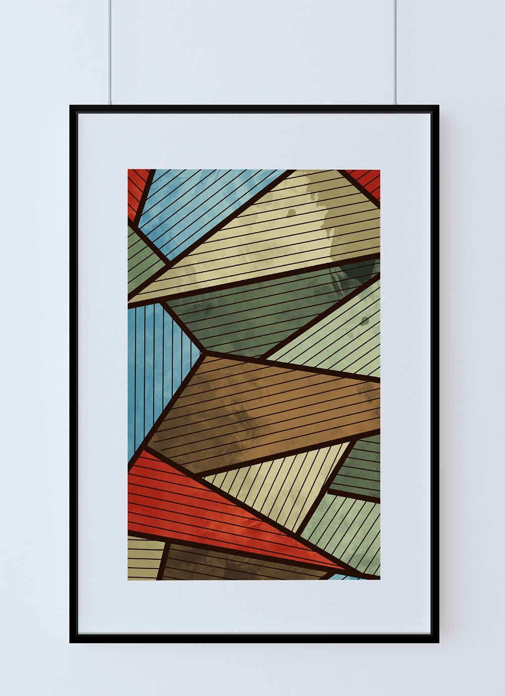 Mid century modern print abstract art print poster giclee for Newspaper canvas art