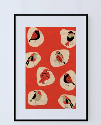 Mid Century Modern Print Birds Vintage Retro Abstract Art Print Poster Giclee on Cotton Canvas and Paper Canvas Wall Decor