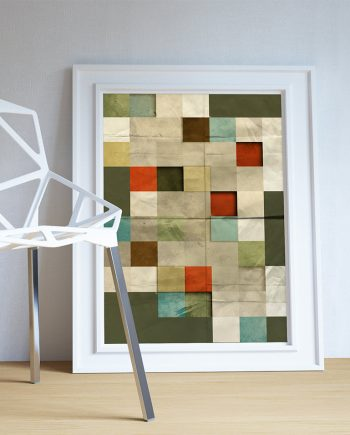 Mid Century Modern Print Block Abstract Art Print Poster Giclee on Cotton Canvas and Paper Canvas Wall Decor