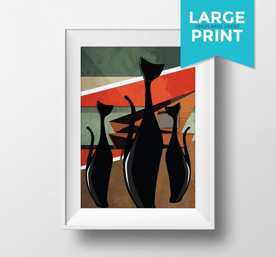 Mid Century Modern Print Cat Abstract Art Print Large Poster Giclee on Satin or Cotton Canvas Wall Decor
