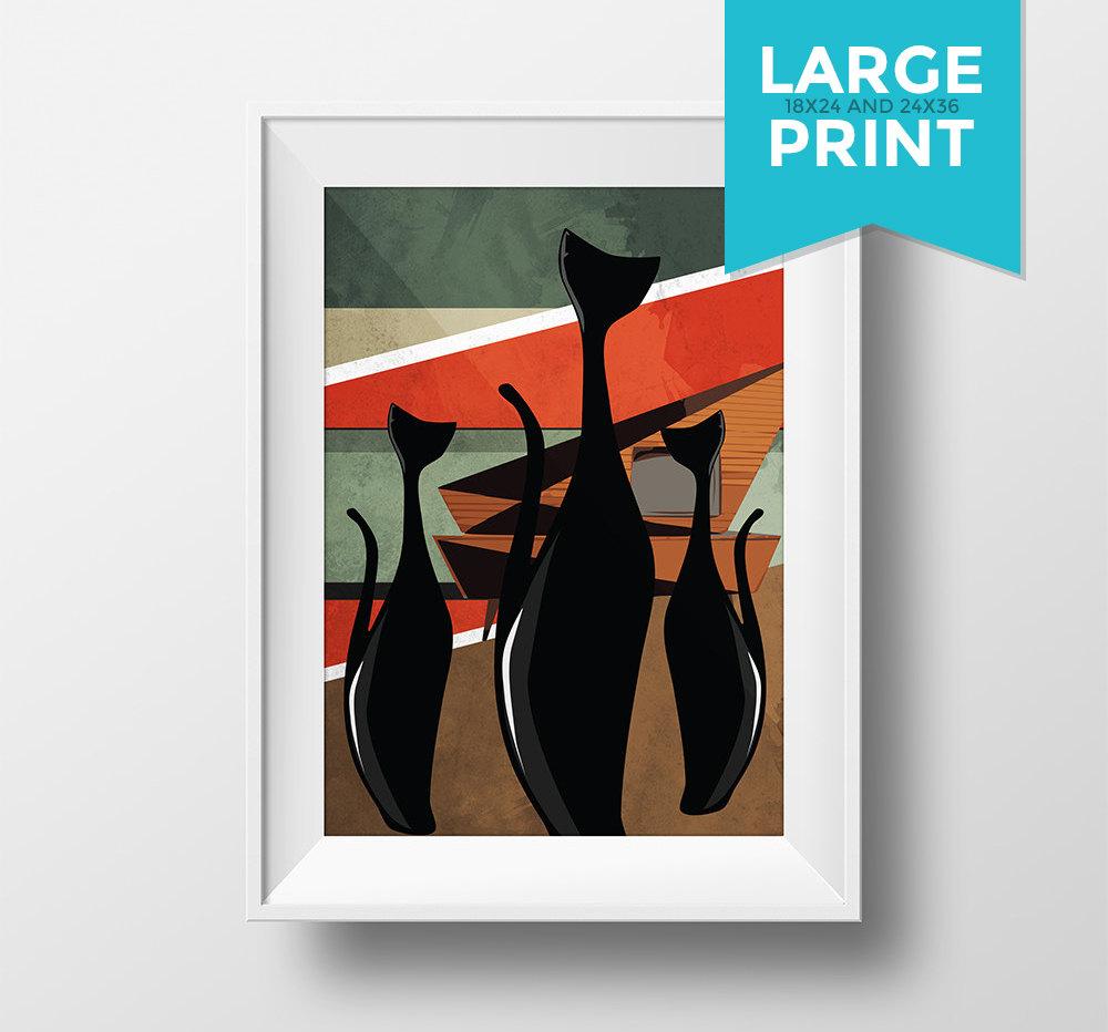 Mid Century Modern Print Cat Abstract Art