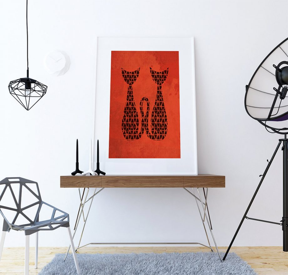 Mid Century Modern Print Cat Abstract Art Print Poster Giclee  18x24, 24x36 Wall Decor on Cotton Canvas and Satin Photo Paper