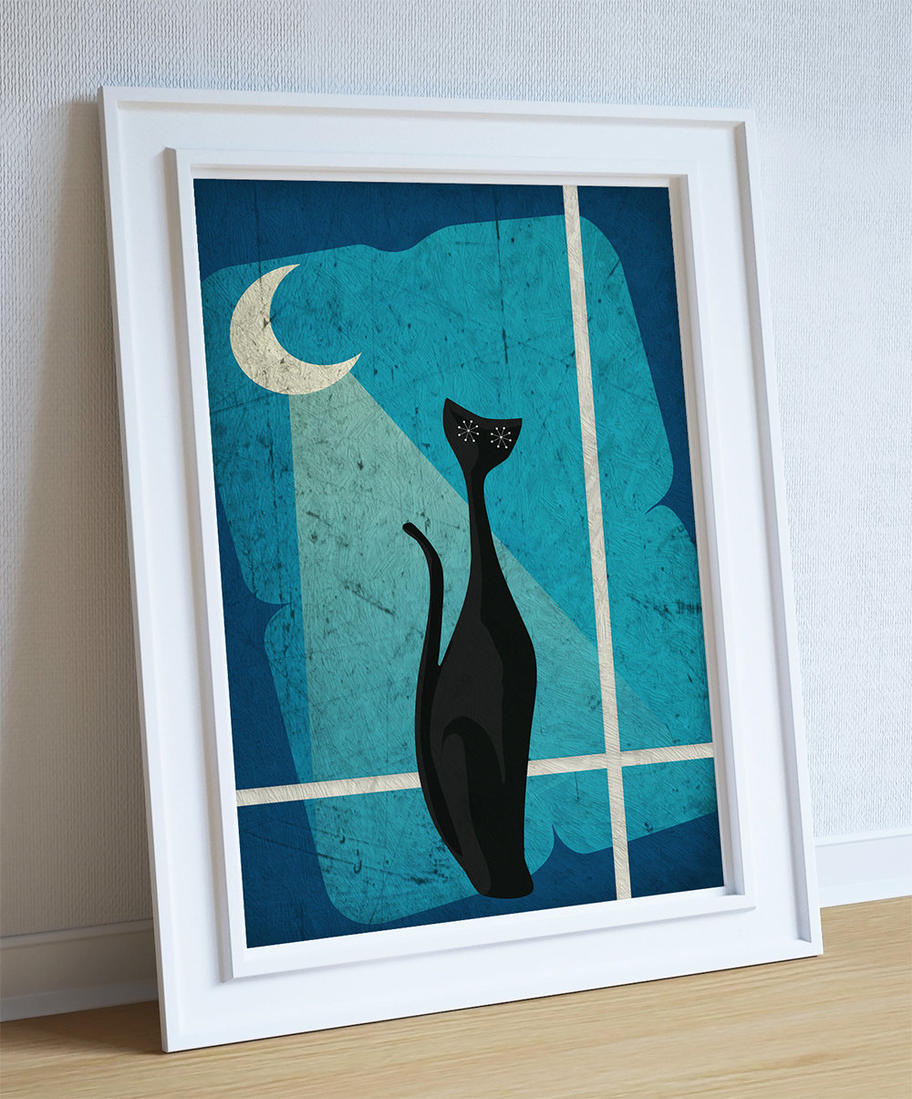 Mid Century Modern Print Cat Abstract Art Print Poster