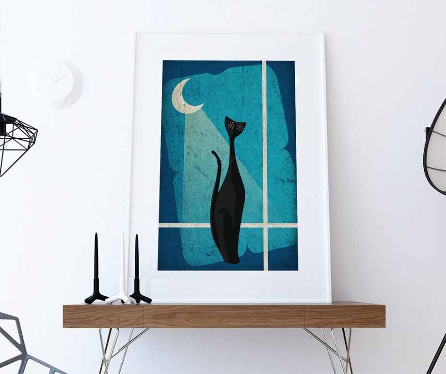 Mid Century Modern Print Cat Abstract Art Print Poster Giclee on Cotton Canvas and Satin Photo Paper