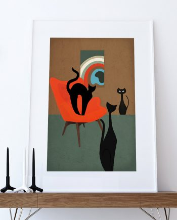 Mid Century Modern Print Cats Abstract Art Print Poster Giclee on Cotton Canvas and Paper Canvas Wall Decor