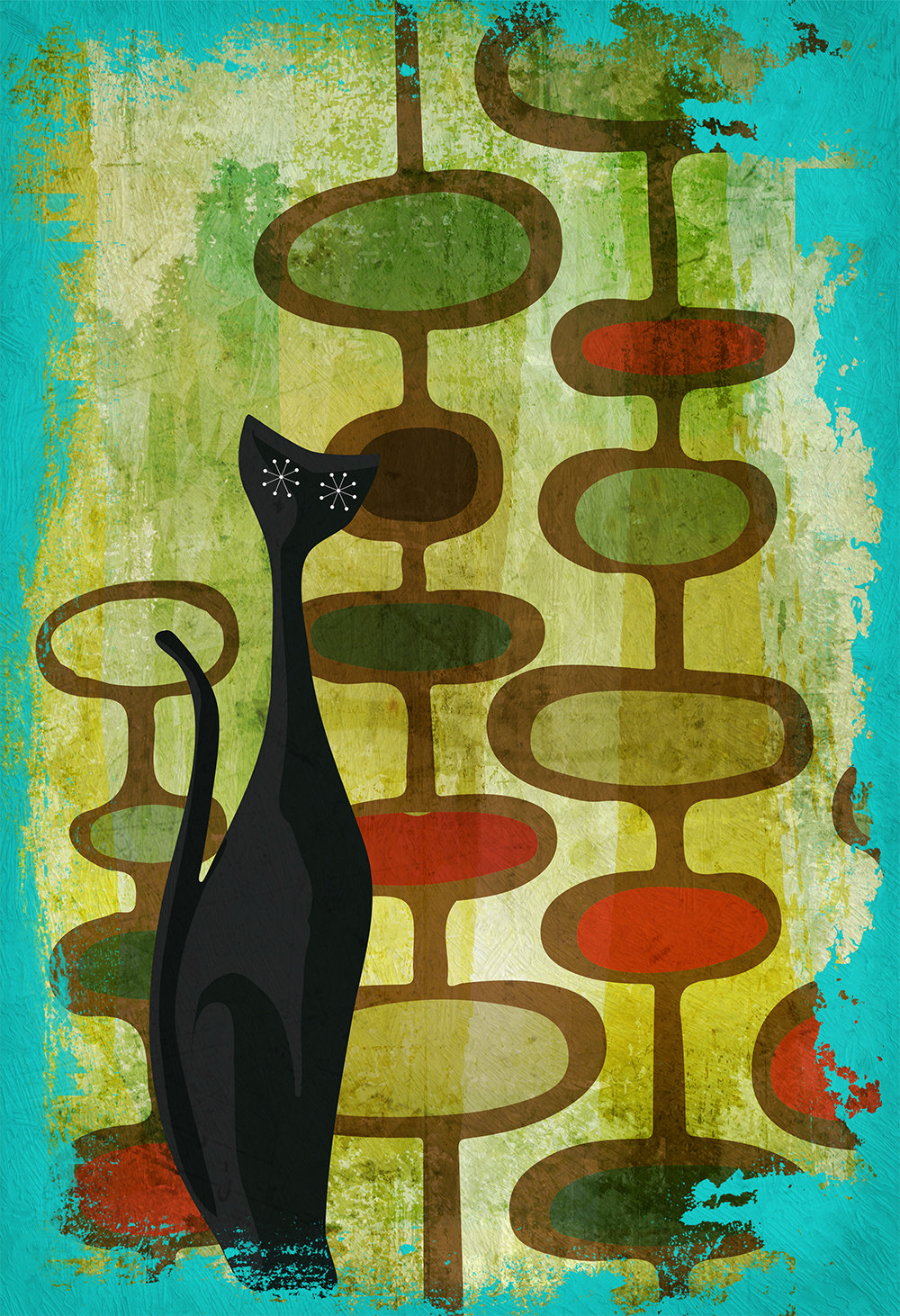 mid century modern print cats abstract art print poster giclee on cotton canvas and paper canvas. Black Bedroom Furniture Sets. Home Design Ideas