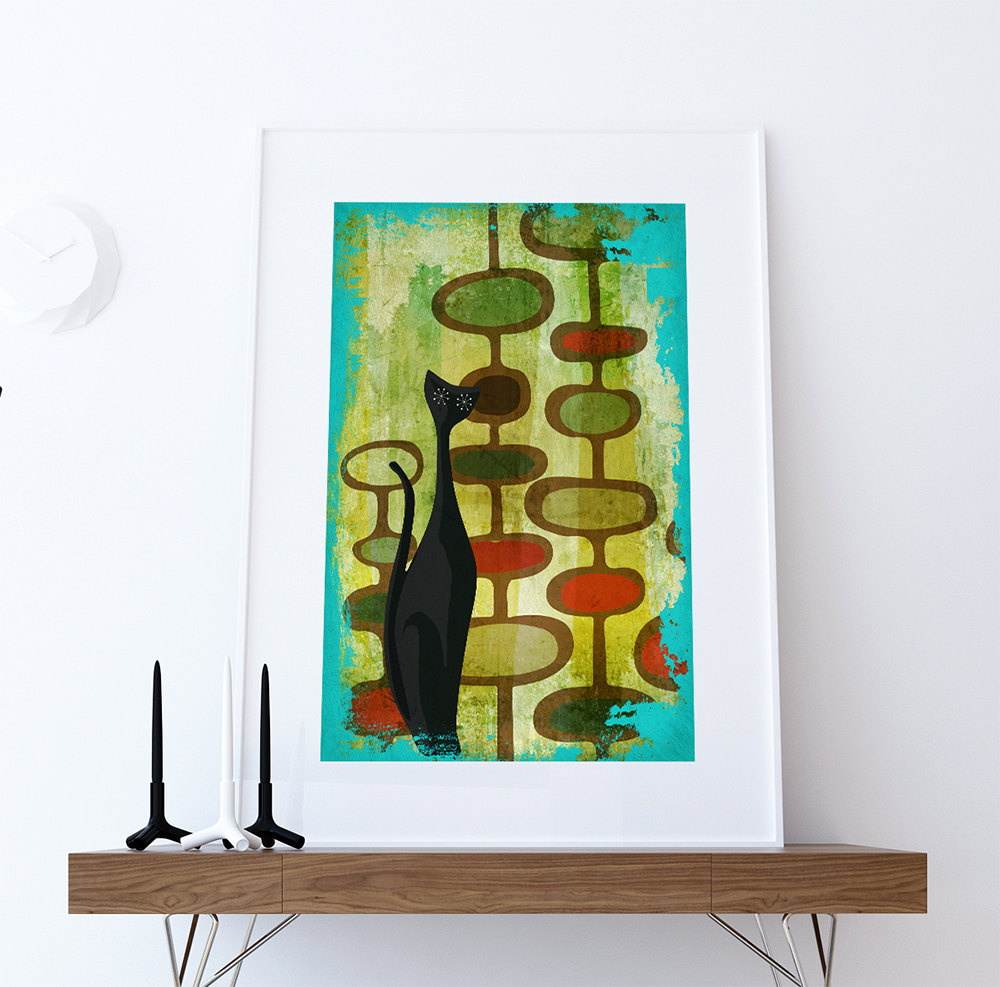 mid century modern print cats abstract art print poster giclee on cotton canvas and satin photo. Black Bedroom Furniture Sets. Home Design Ideas