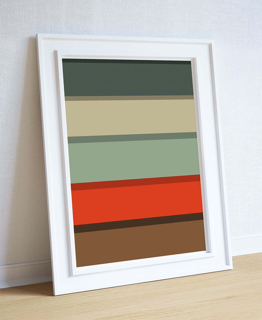 mid century modern print color palette abstract art print