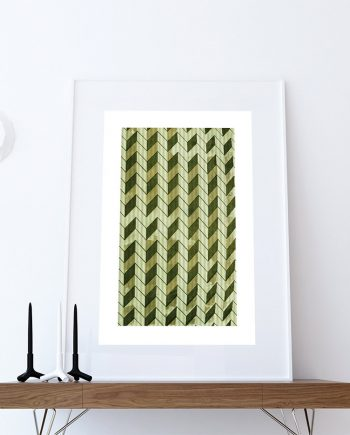 Mid Century Modern Print Geometric Chevron Vintage Retro Abstract Art Print Poster Giclee on Cotton Canvas and Paper Canvas Wall Decor