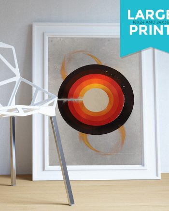 Mid Century Modern Print Geometric Circle Vintage Retro Abstract Art Print Large Poster Giclee on Satin or Cotton Canvas Wall Decor