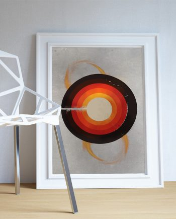 Mid Century Modern Print Geometric Circle Vintage Retro Abstract Art Print Poster Giclee on Cotton Canvas and Paper Canvas Wall Decor