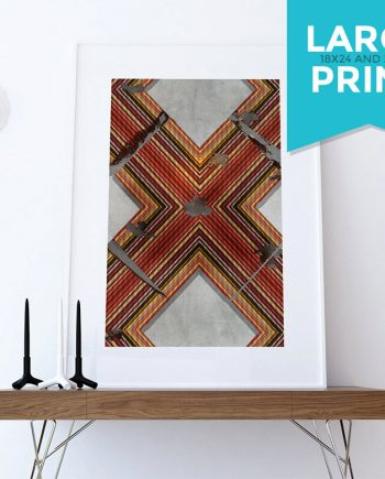 Mid Century Modern Print Geometric Cross Vintage Retro Abstract Art Print Large Poster Giclee on Satin or Cotton Canvas Wall Decor