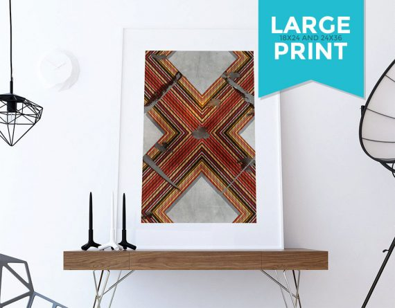 Mid Century Modern Print Geometric Cross Vintage Retro Abstract Art Print Large Poster Giclee on Satin or Cotton Canvas Wall Decor