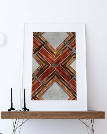 Mid Century Modern Print Geometric Cross Vintage Retro Abstract Art Print Poster Giclee on Cotton Canvas and Paper Canvas Wall Decor