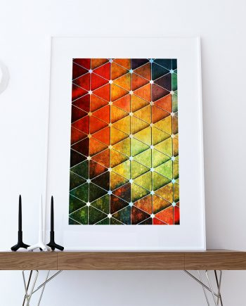 Mid Century Modern Print Geometric Cubes Vintage Retro Abstract Art Print Poster Giclee on Cotton Canvas and Paper Canvas Wall Decor