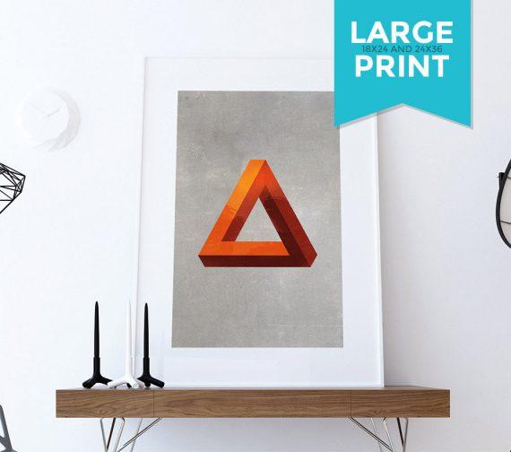 Mid Century Modern Print Geometric Pyramid Vintage Retro Abstract Art Print Large Poster Giclee on Satin or Cotton Canvas Wall Decor