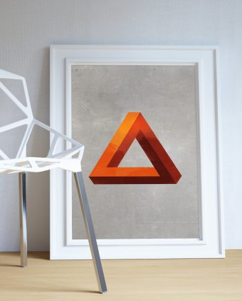 Mid Century Modern Print Geometric Pyramid Vintage Retro Abstract Art Print Poster Giclee on Cotton Canvas and Paper Canvas Wall Decor