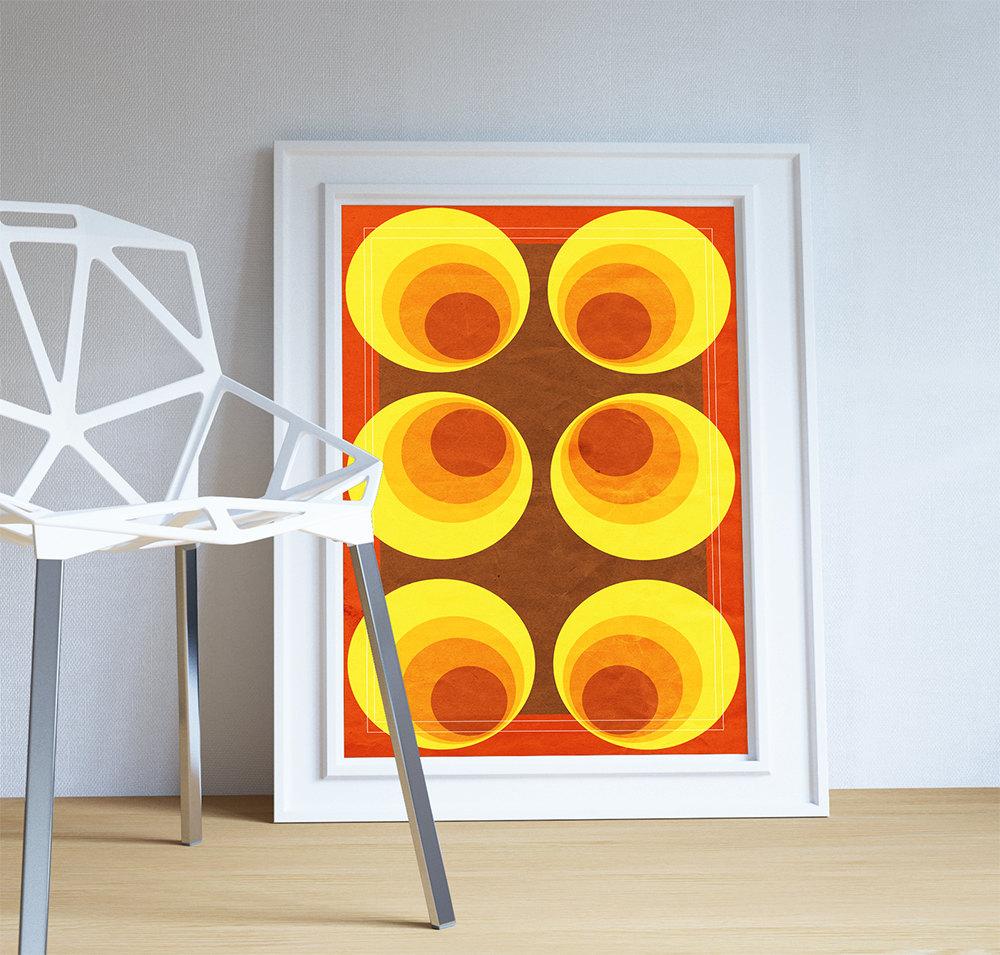 Mid Century Modern Print Geometric Retro Circle Vintage Retro ...