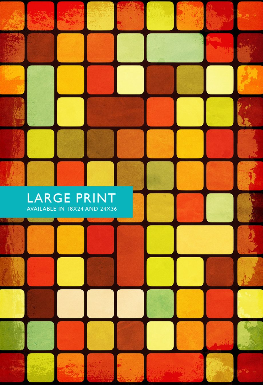 Mid Century Modern Print Geometric Retro Square Vintage Retro Abstract Art Print Poster Giclee on Cotton Canvas & Satin