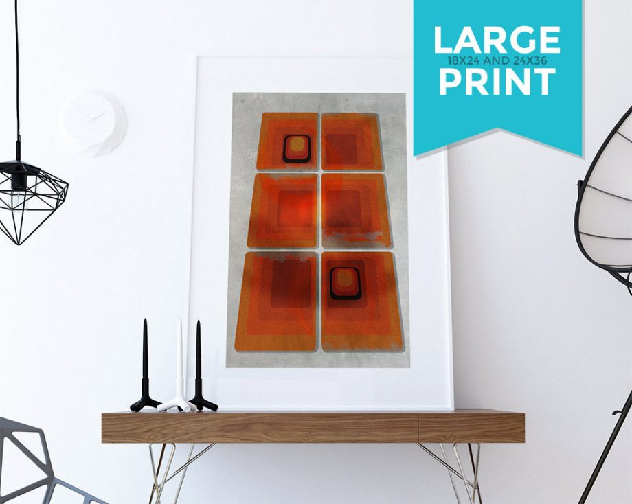 Mid Century Modern Print Geometric Squares Vintage Retro Abstract Art Print Large Poster Giclee on Satin or Cotton Canvas Wall Decor