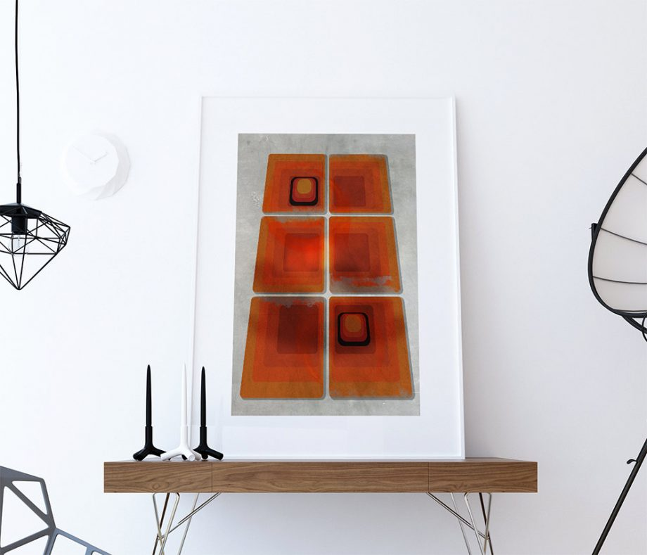 Mid Century Modern Print Geometric Squares Vintage Retro Abstract Art Print Poster Giclee on Cotton Canvas and Paper Canvas Wall Decor