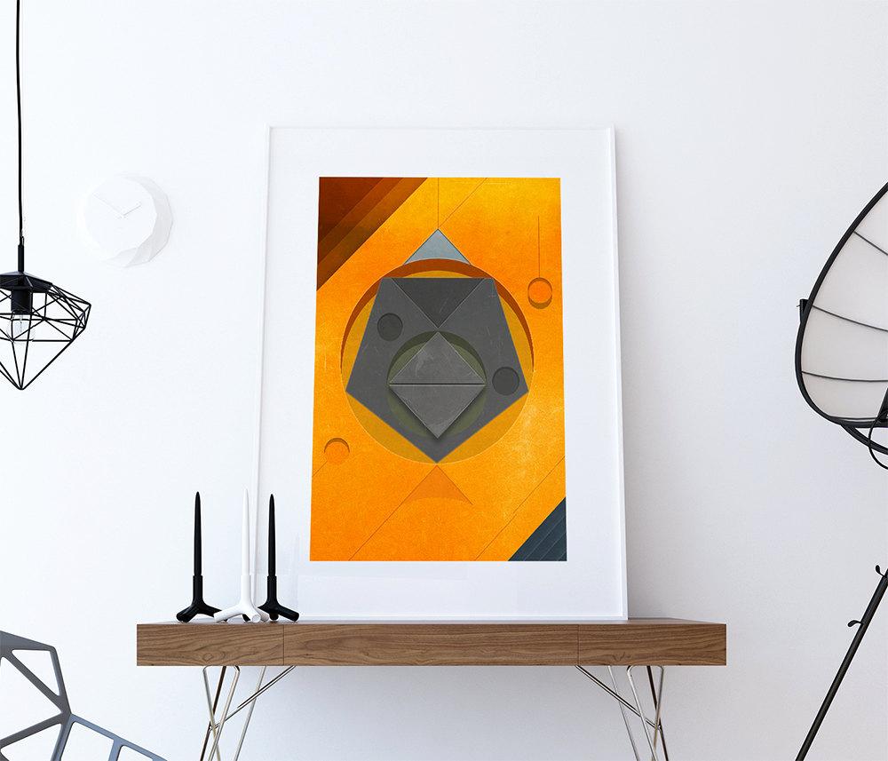 Mid Century Modern Print Geometric Vintage Retro Abstract ...