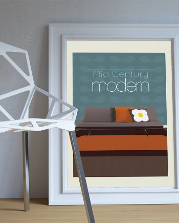 Mid Century Modern Print Illustration Art Print Poster Giclee on Cotton Canvas and Paper Canvas Grunge Wall Decor