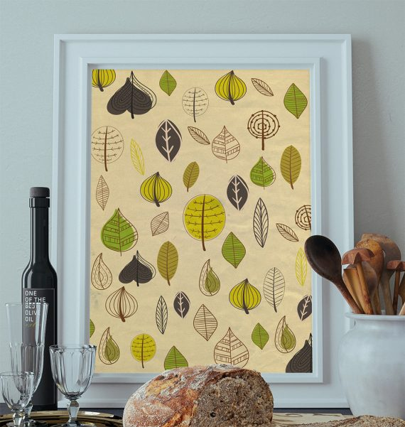 Mid Century Modern Print Leaves Vintage Retro Abstract Art Print Large Poster Giclee on Satin or Cotton Canvas Wall Decor