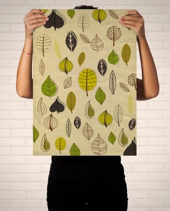 Mid Century Modern Print Leaves Vintage Retro Abstract Art Print Poster Giclee on Cotton Canvas and Paper Canvas Wall Decor