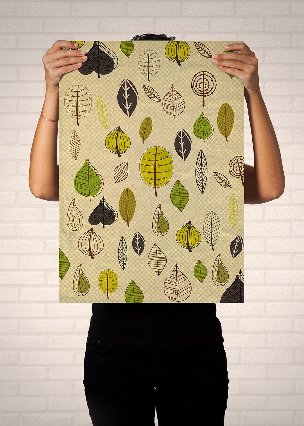 Mid Century Modern Print Leaves Vintage Retro Abstract Art Print ...