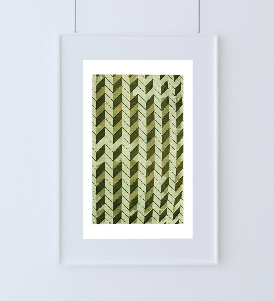 Mid Century Modern Vintage Print Geometric Chevron Vintage Retro Abstract Art Print Poster Giclee Wall Decor on Cotton Canvas & Satin