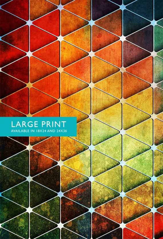 Mid Century Modern Vintage Print Geometric Cube Vintage Retro Abstract Art Print Poster Giclee Wall Decor on Cotton Canvas & Satin