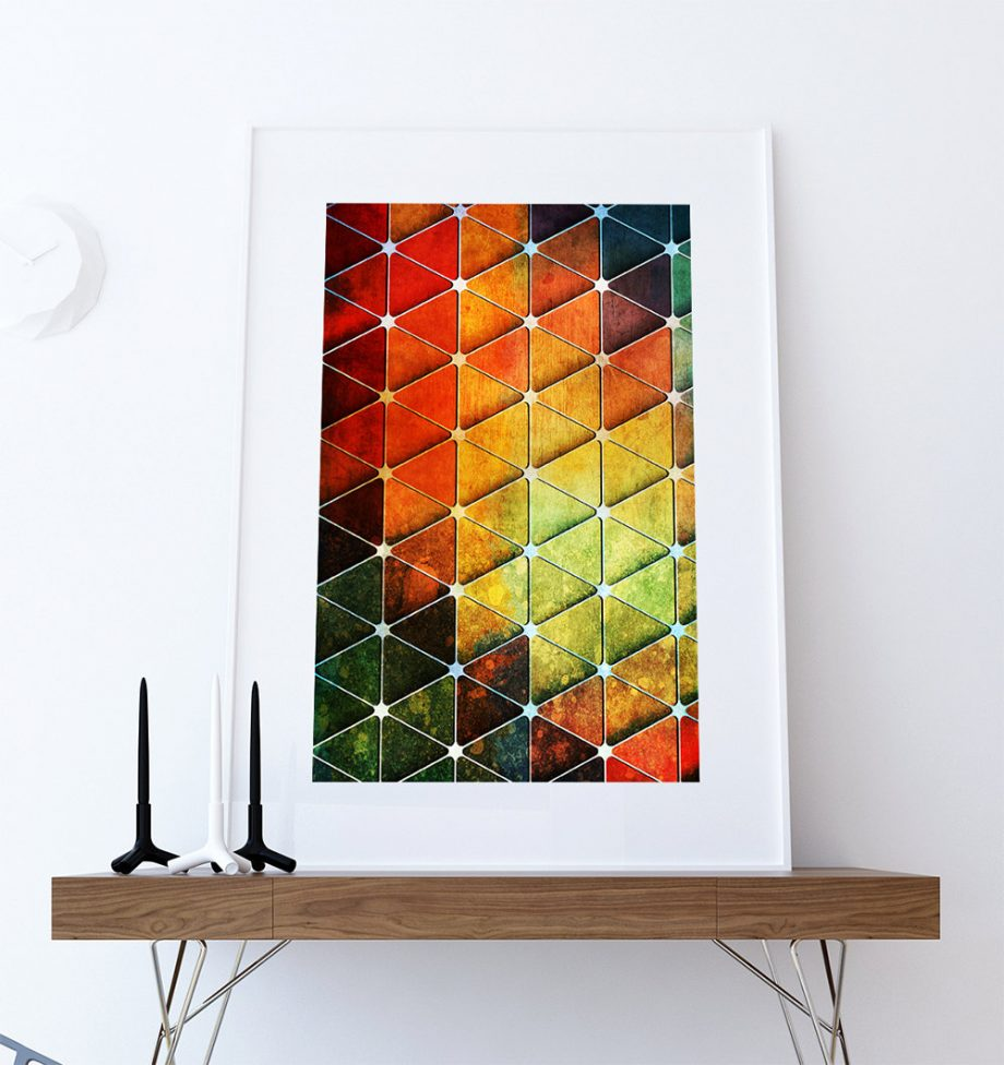 Mid Century Modern Vintage Print Geometric Cube Vintage Retro Abstract Art Print Poster Giclee Wall Decor on Cotton Canvas & Satin