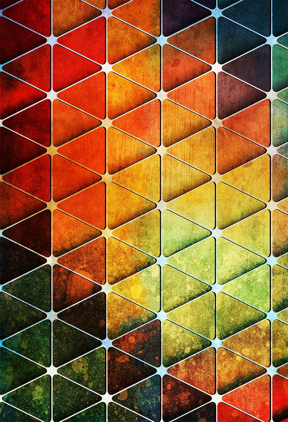 Mid Century Modern Vintage Print Geometric Cube Vintage ...