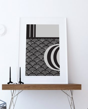 Mid Century Modern Vintage Retro Abstract Art Print Poster Giclee on Cotton Canvas and Paper Canvas Wall Decor